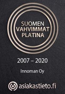 Suomen Vahvimmat Platina 2007-2020 Innoman Oy / Asiakastieto.fi